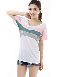 High Quality Women's Color Block White T-shirt,Round Neck Short Sleeve