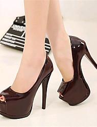 Calçados Femininos-Saltos-Saltos / Peep Toe-Salto Agulha-Preto / Vermelho / Branco-Courino-Festas & Noite