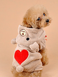 Dog Costume / Hoodie / Outfits Brown / Gray Dog Clothes Winter Hearts Cosplay / Halloween