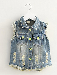 BK  Girls Denim Butterfly Vest 2016 Summer Kids' Clothing