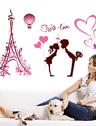 Wall Stickers Wall Decals, Romantic Paris Love Hot Air Balloon PVC Wall Sticker