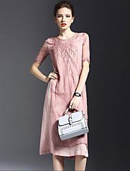 Women's Simple Solid A Line Dress,Round Neck Knee-length Silk / Linen