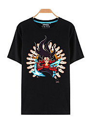 Inspired by Naruto Sasuke Uchiha Anime Cosplay Costumes Cosplay T-shirt Print Black Short Sleeve Top