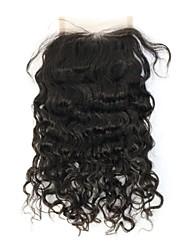 Droit crépu Cheveux humains Fermeture Brun roux gramme Cap Taille