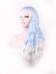 Candy Colored Light Blue Curly Long Length Japanese Style Heat Resistance Cosplay Wigs Hot