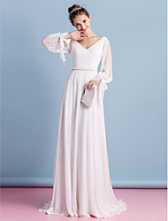 LAN TING BRIDE Sheath / Column Wedding Dress Simply Sublime Court Train V-neck Chiffon with Beading