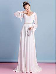 lanting Braut Mantel / Spalte Hochzeitskleid-Gericht Zug V-Ausschnitt Chiffon