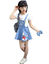 Girl's Blue Jeans,Cartoon Print Strap Casual Denim Dress