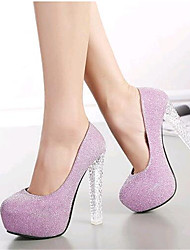 Women's Shoes Leatherette Stiletto Heel Heels Heels Wedding / Party & Evening Pink / Silver
