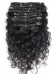 8A 100% Natural Clip In Human Hair Extensions Brazilian Hair Clip In Extension Water Wave