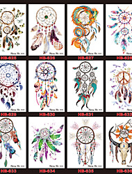 12PCS Dreamcatcher Design Tattoo 1pc Decal 2016 New Temporary Women Men Body Back Art Tattoo Sticker Sexy Feather