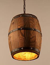 Single Head Amercian Countryside Loft Wooden Pendant Lamp Personal Barrel Foyer / Study Room Decorate Drop Light