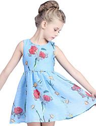 Girl's Cotton Summer High-end Rose Print Sleeveless Dress