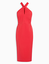 Women's Sexy Solid Sheath Dress,Halter Knee-length Polyester
