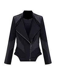 Women's Solid White / Black Leather Jackets,Simple Long Sleeve Nylon