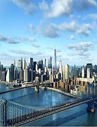 "(6'5 ""x 3'2 ft)High Quality Flash Silver Cloth Wallpaper Modern Buildings New York Bridge 3d Mural Wallpaper"