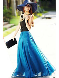 Women's Swing Solid Mesh Skirts,Casual/Daily / Beach Cute Mid Rise Maxi Elasticity Polyester Spring / Summer