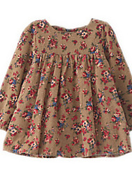 Robe Fille de Eté / Printemps Coton Bleu / Marron