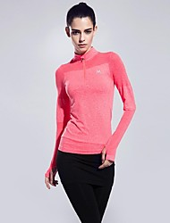 Women Sports Spring Long Sleeve Zipper Tshirt Fitness Running Yoga Top Clothing Quick Dry Gym Sportswear