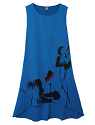 Women's Loose Sleeveless Lotus Ink Painting Cotton Linen Irregular Dress Print Randomly
