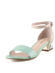 PT'SON Women's Patent Leather Chunky Heel Sandals Green