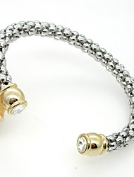 Gold Plated Crystal Clasp Stainless Steel Corn Chain Cuff Bangle