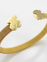 Bear Clasp Gold Plated Stainless Steel Net Wire Cuff Bangle