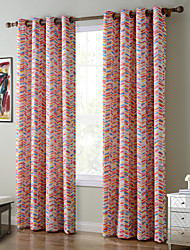 Chadmade SOFITEL Contemporary Heat Tranfer Print Colorful Dash Herringbone Pattern - Lined Curtain -Pink Orange