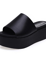 Women's Shoes Leather Platform Slippers Slippers Office & Career / Dress / Casual Black / White