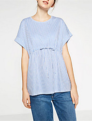 Women's Casual/Daily Street chic Summer Blouse,Striped Round Neck Short Sleeve Blue Polyester Thin