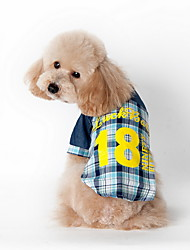 Cat / Dog Shirt Blue / Pink Summer Plaid/Check / Letter & Number Plaid, Dog Clothes / Dog Clothing-Lovoyager
