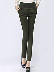 Women's Solid Red / Black / Green / Yellow Business / Harem Pants,Plus Size / Work Slim Thin Polyester/Nylon