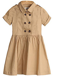Robe Fille de Printemps Coton Marron