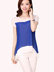 High Quality  Women's Color Block Pink T-shirt,Round Neck Long Sleeve