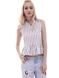 Women's Casual/Daily Vintage / Simple Summer Blouse,Striped Round Neck Sleeveless White Cotton / Polyester Thin