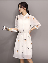 Women's Simple Print A Line Dress,Stand Knee-length Polyester / Others