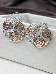 Elegant Style Hollow Rose Full Diamond Circular Lady Earrings