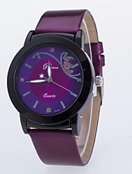 Mulheres Relógio de Moda Quartzo Couro Banda Borboleta Preta Vermelho Roxa # 1 # 2 # 3