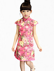 Girl's Black / Blue / Green Dress,Floral Cotton Summer