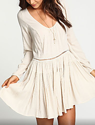 Women's Holiday Simple Loose Dress,Solid U Neck Mini Long Sleeve White / Black Polyester Summer