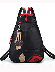 Women PU Bucket Backpack / School Bag / Travel Bag-Black