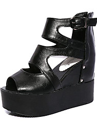 Women's Shoes Leatherette Wedge Heel Wedges / Heels Sandals Outdoor / Casual Black / White / Silver