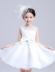 Girl's Polyester Summer The Host Clothing Bowknot Belt Lace Dress