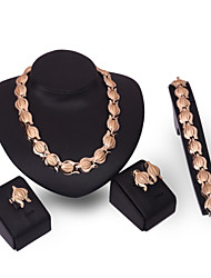 XIXI Jewelry Set Gold Plated Jewelry Set With Crystal Necklace For Bridal Bridal Wedding Party