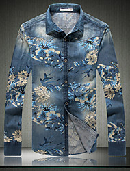 Men's Fashion Slim Printed Long Sleeved Denim Shirt,Cotton / Polyester Casual / Plus Sizes Print