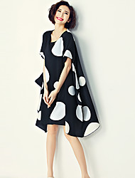 Women's Vintage Polka Dot Sheath Dress,Round Neck Asymmetrical Polyester