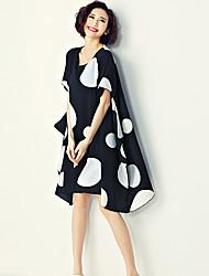 Women's Vintage Polka Dot Sheath Dress,Round Neck Asymmetrical Polyester