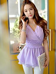 DABUWAWA® Damen V-Ausschnitt Ärmellos Shirt & Bluse Lila-D15BST068