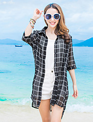 Women's Beach Street chic Summer Shirt,Check Shirt Collar ½ Length Sleeve White / Black Silk / Polyester Thin