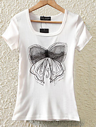 Women's Sequined Lace Bow Print White T-shirt,Round Neck Short Sleeve